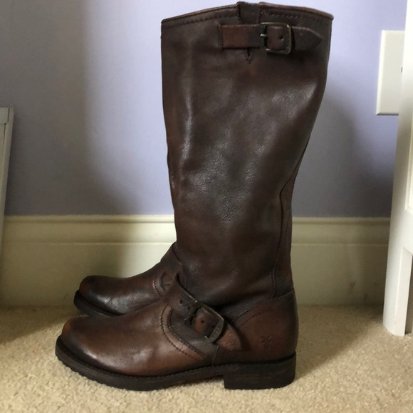 Frye Shoes - FRYE Tall Leather Brown Boots